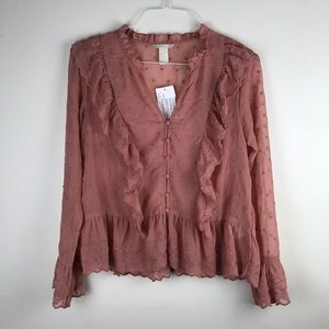H&M blush embroidered Blouse 12